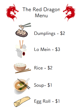 Free Chinese restaurant dramatic play menu and take-out labels!