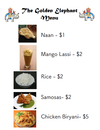 Free indian restaurant dramatic play menu